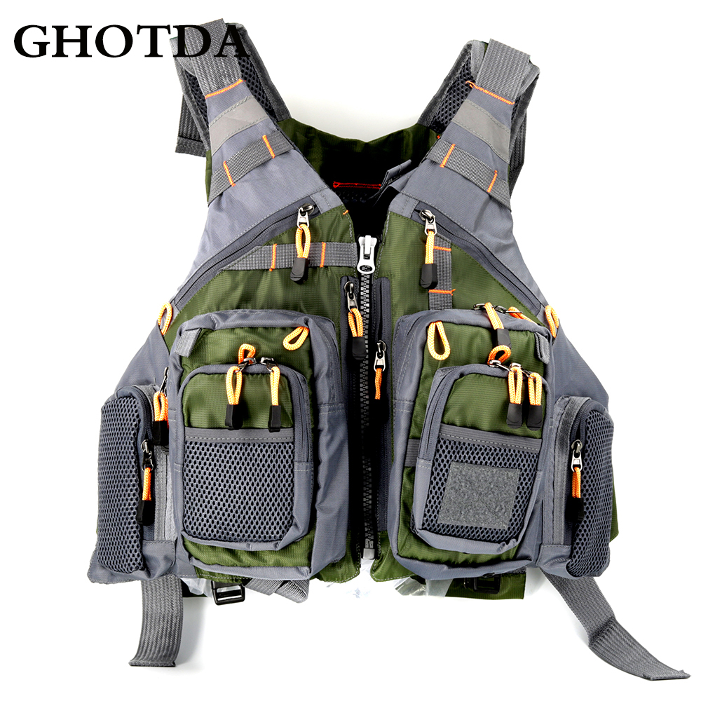 GHOTDA Outdoor Sport Fishing Men Women Breathable Swimming Life Jacket Safety Waistcoat With Multi pockets|Fishing Vests| |  - title=