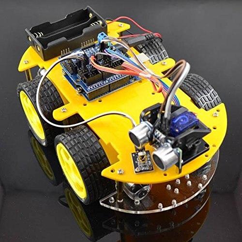 Multi-fonction 4WD Robot Kits de Voiture À Ultrasons Module UNO R3 MEGA328P Robot Kit de Montage de Voiture