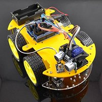 Multi-função 4wd robô kits de carro módulo ultrassônico uno r3 mega328p kit de montagem de carro robô