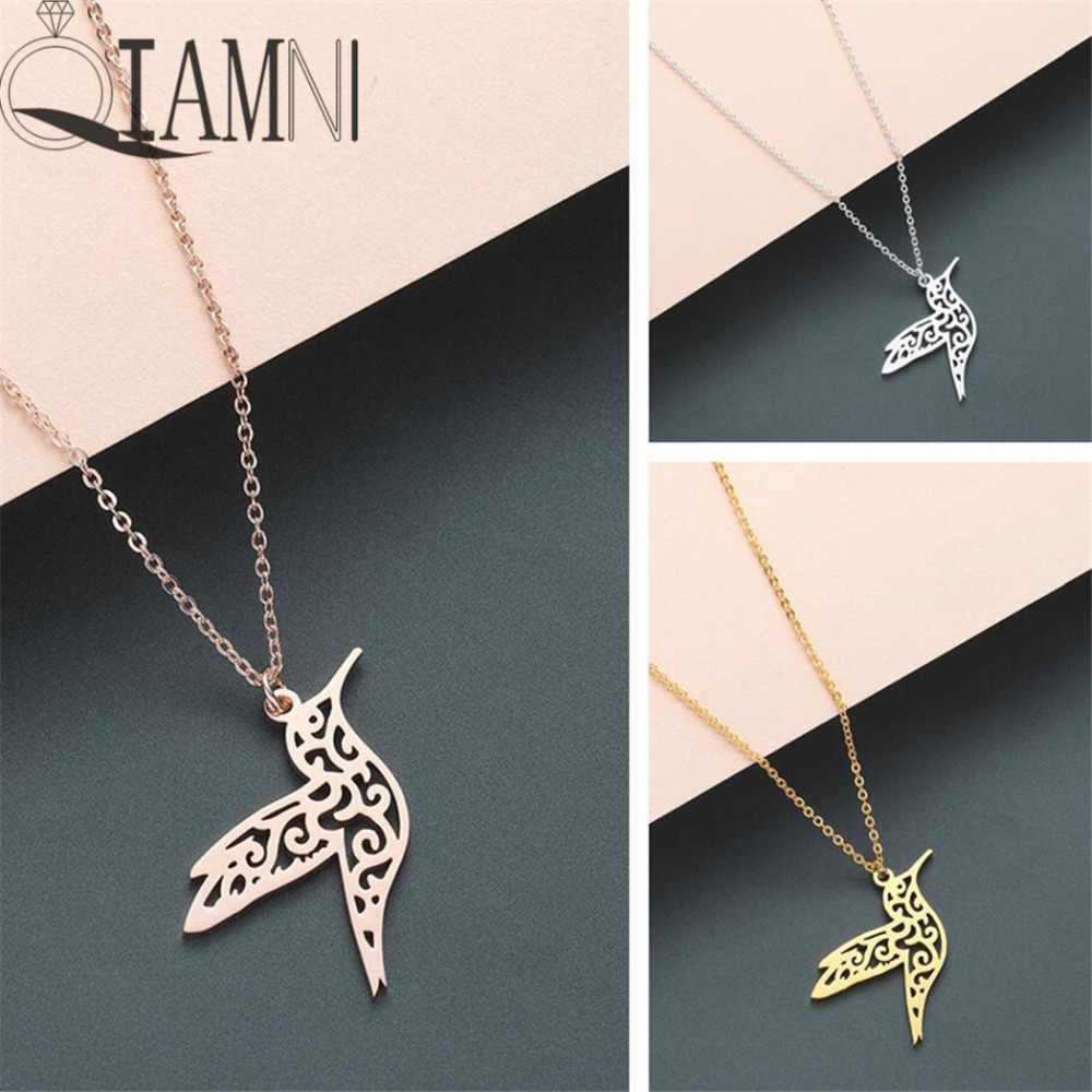 QIAMNI Trendy Animal Hummingbird Swallow Pendant Necklace Geometric Origami Flying Bird Chain Necklace Birthday Jewelry Gifts