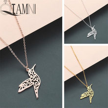 QIAMNI Trendy Animal Hummingbird Swallow Pendant Necklace Geometric Origami Flying Bird Chain Necklace Birthday Jewelry Gifts(China)
