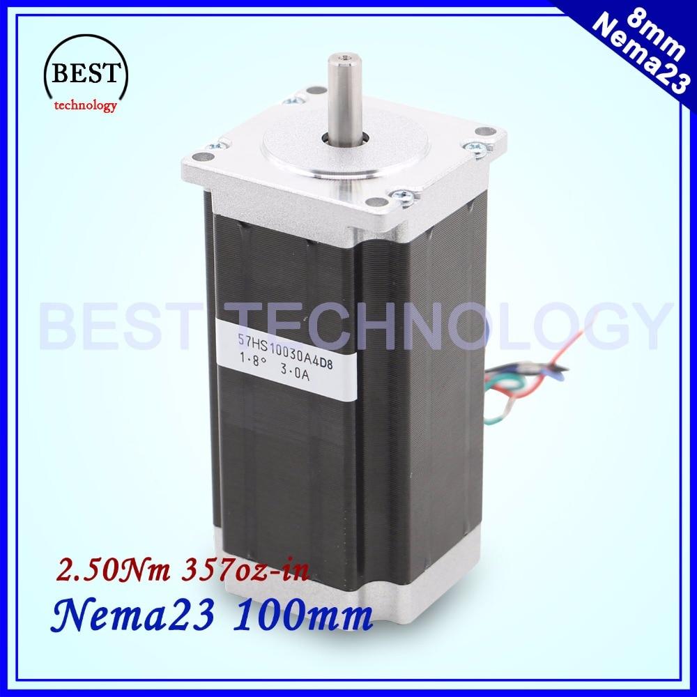 NEMA 23 Stepper motor 57x100mm 2.5Nm Nema23 CNC stepping motor 357Oz-in D=8mm for CNC machine, 3D printer