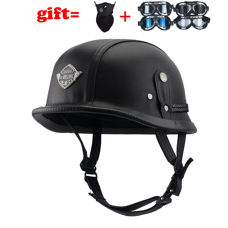 Hot Rides Classic Chopper Biker ATV Helmet Novelty For Cruiser Harley Scooter German Non Dot Large, PU Leather