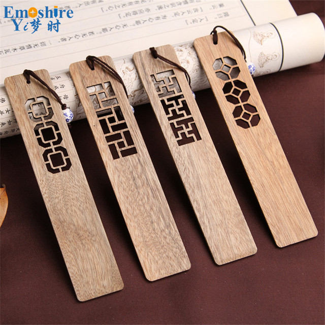 High-grade Solid Wood Bookmarks Set Chinese Style Retro Vintage Book Marks Classical Hollow Wooden Bookmark Small Gift Set M004