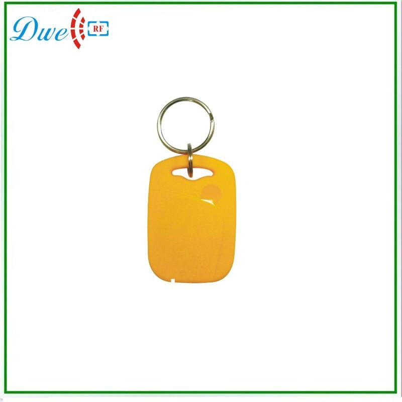 DWE CC RF 50pcs/lot + 125khz TK4100 EM-ID access control ABS rfid keyfob keychain card dwe cc rf 2017 hot sell 13 56mhz 12v wg 26 rfid outdoor tag reader for security access control system