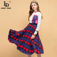 LD LINDA DELLA Fashion Designer Spring Suits Women's Crystal Beading Embroidery Tops+Pleated Heart Printed Skirt Two Pieces Set