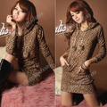 Women's Fashion Stylish Long Sleeve Leopard Print Hoodie Hooded Party Clubwear Cocktail Mini Dress Size S M L CL0276