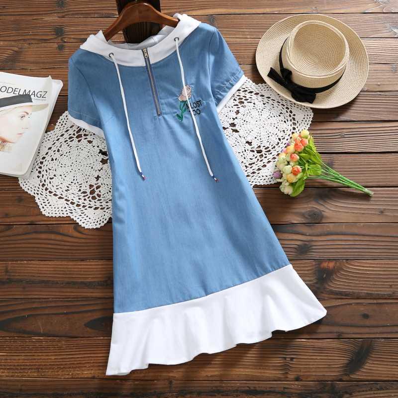 Mori Girl Летняя женская джинсовая туника с капюшоном в стиле пэчворк с цветочной вышивкой, хлопковые повседневные платья Элегантное винтажное платье с коротким рукавом