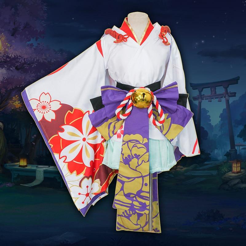 [Milky Way]Onmyoji Snow Girl Xue Nv Yuki Onna Froslass Awakening Flower Sakura Dress Cosplay Costume Kimono Dresses