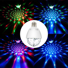 3W E27 Mini stage light Auto Rotating indoor DJ lighting effect Disco ball Lamp bulb RGB LED Projector Chrismas Patty decoration 2xlot wholesale mini led roller scanner effect light 10w full color strobe stage lighting dj lamp rgbw auto rotating led bulb