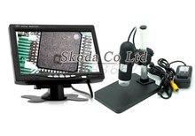 Бесплатная доставка 2-МЕГАПИКСЕЛЬНАЯ 1000X Цифровой AV Микроскоп + держатель База + 7 дюймов ЖК-монитор HD Цифровой Микроскоп Электронный Увеличитель камера