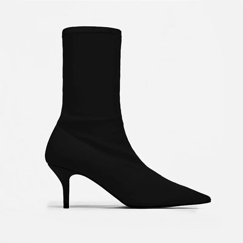 2018 Autumn Women Sock Boots Stretch Fabric Slip On 6.5CM High Heels Pointed Toe Ankle Boots Women Pumps Stiletto Ladies Shoes
