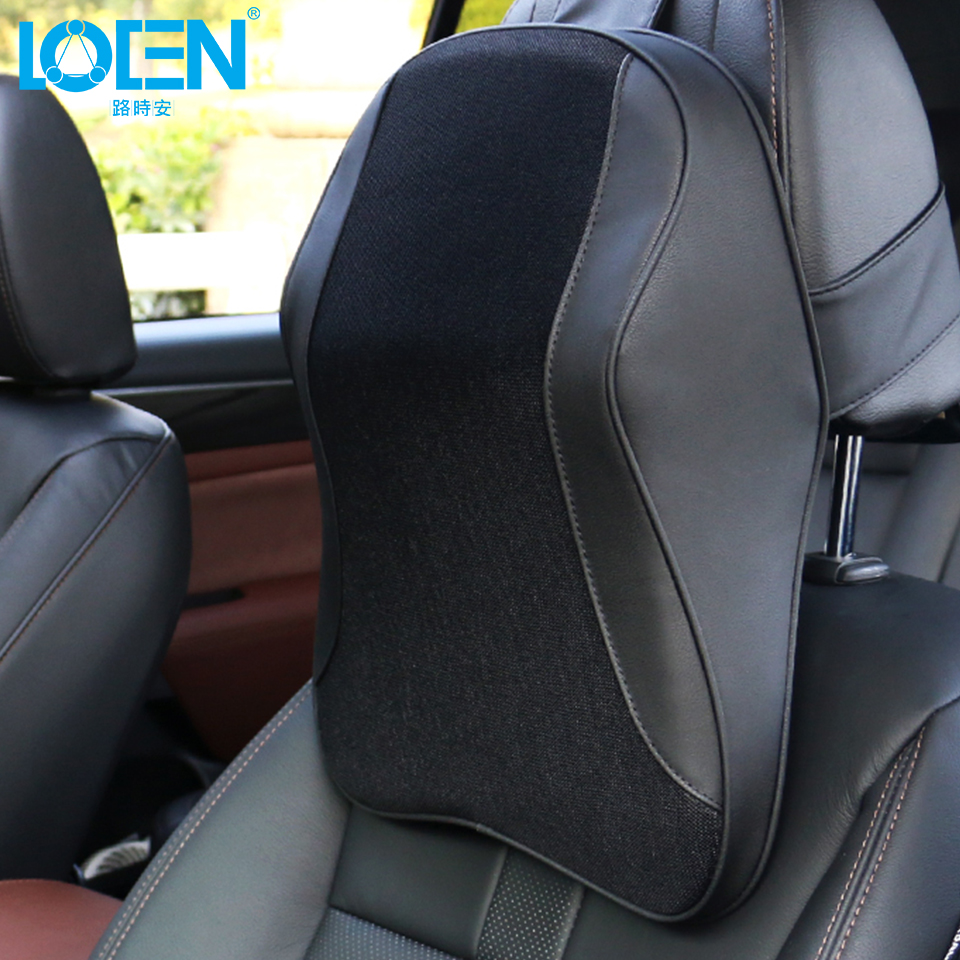 LOEN 1pcs Car Neck Pillow Seat Back Support Cushion Memory Foam Seat Cover Headrest Waist Lumbar Pillow Nap Pads Car Care loen 1set of leather memory foam car seat support cover lumbar back cushion office chair lumbar support headrest neck pillow
