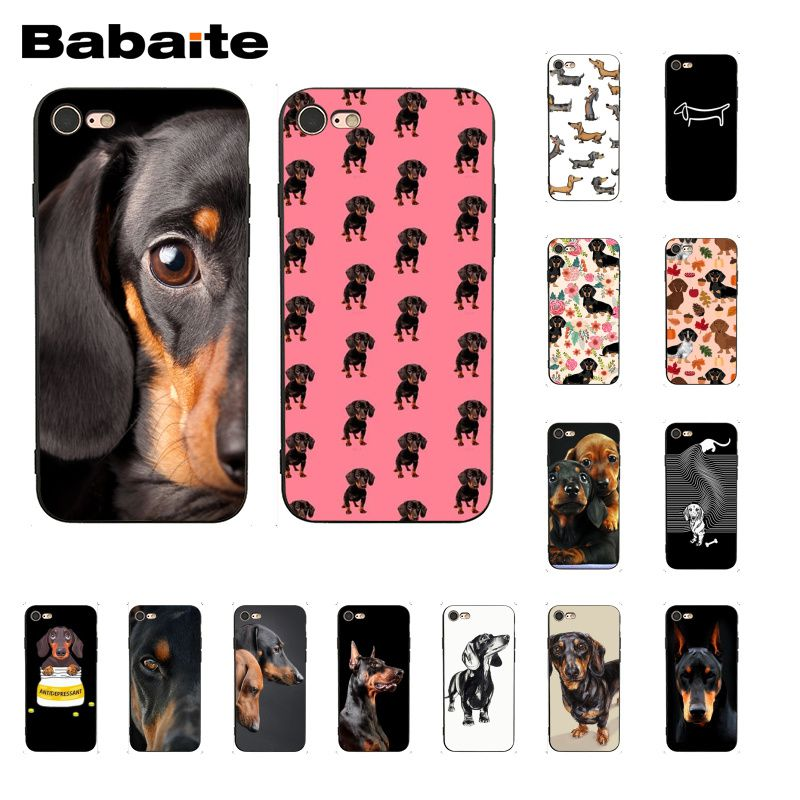 Babaite black Dachshund Doberman Dog face DIY Luxury Phone Case for iPhone 6S 6plus 7 7plus 8 8Plus X Xs MAX 5 5S XR