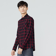 gxg.jeans Men's black winter grid Slim back printing youth trendy long-sleeved shirt 64603018(China)
