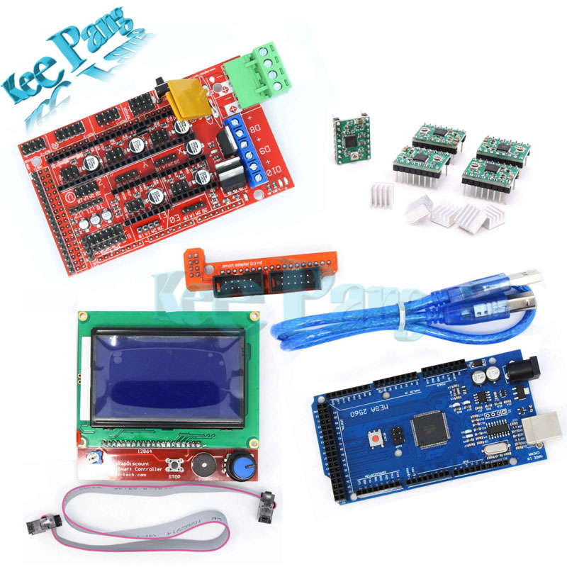 1pcs Mega 2560 R3 + 1pcs RAMPS 1.4 Controller + 5pcs A4988 Stepper Driver Module +1pcs 12864 controller for 3D Printer kit