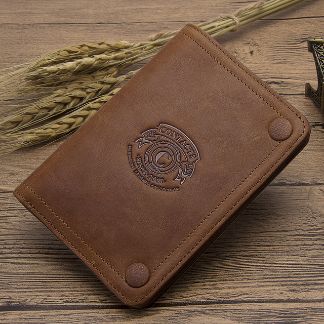 CONTACT'S Men Wallets Brand Design Crazy Horse Genuine Leather Male Short Wallet Hasp Man's Purse With Coin Pockets Card Holders 5