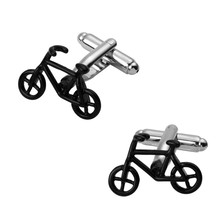 Men's shirts Cufflinks high-quality copper material Black green bike Cufflinks 2 pairs of packaging for sale