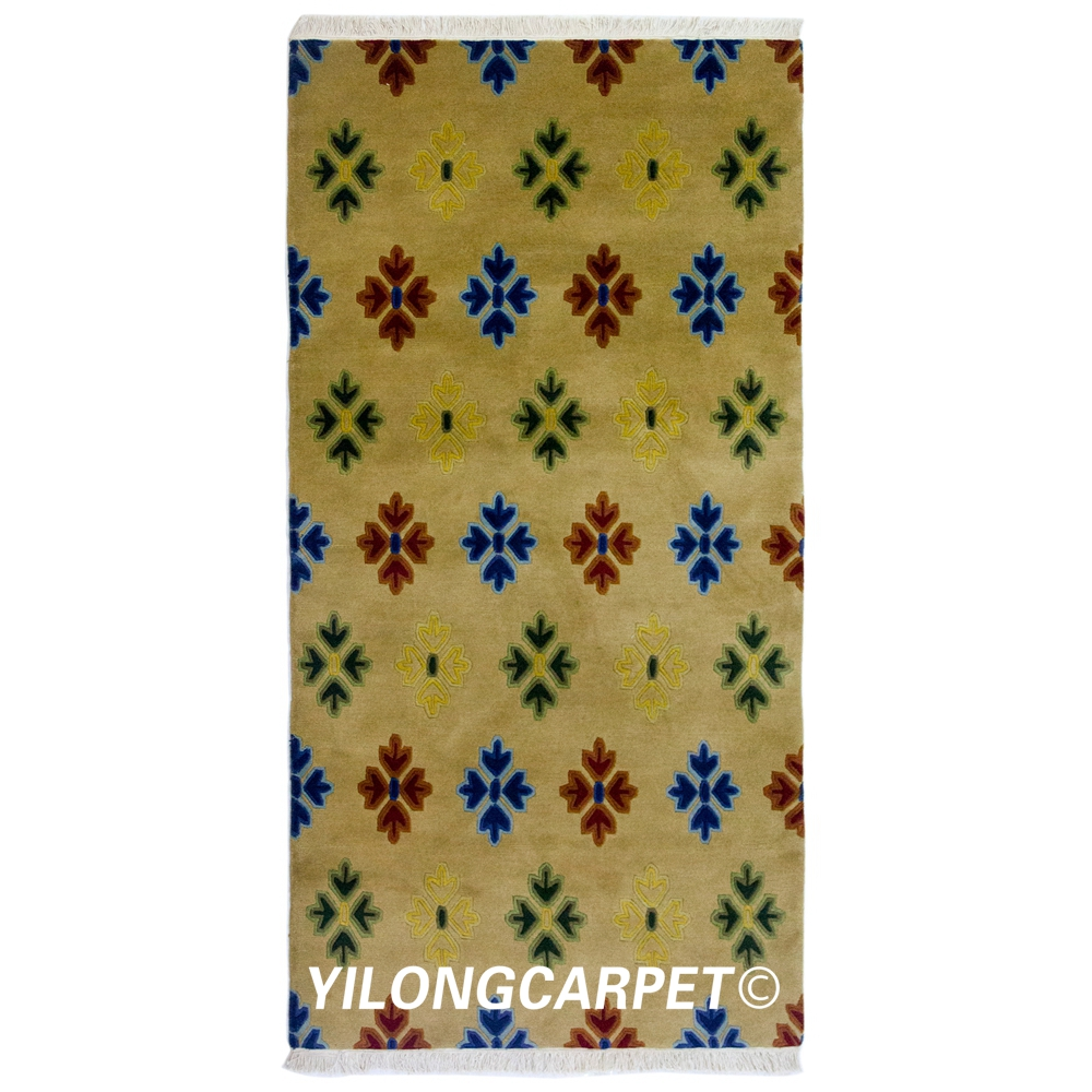 YILONG 3'x6' Handmade Wool Area Carpets Nepal Woolen