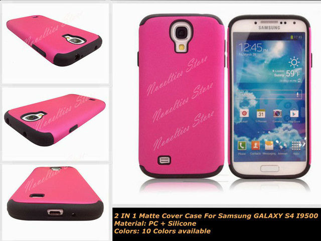 2 in 1 Combo case for galaxy S4.Dual-layer Matte PC + Silicone Combo Case Shell for Samsung Galaxy S 4 IV i9500, 10 Colors