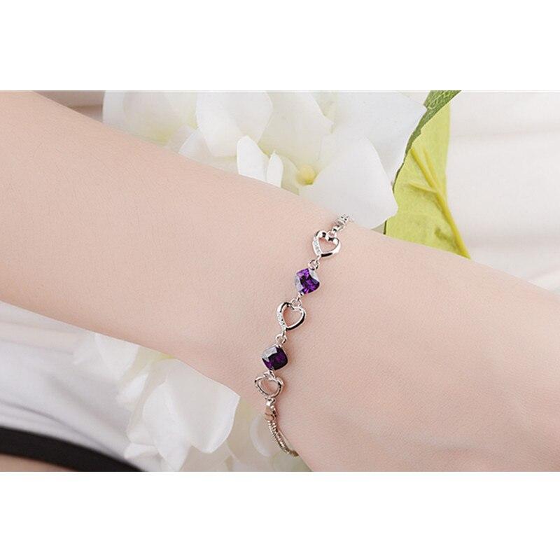 LUKENI New Fashion 925 Sterling Silver Women Bracelets Jewelry Charm Crystal Purple Heart Female Anklets Bracelets Accessories in Charm Bracelets from Jewelry Accessories