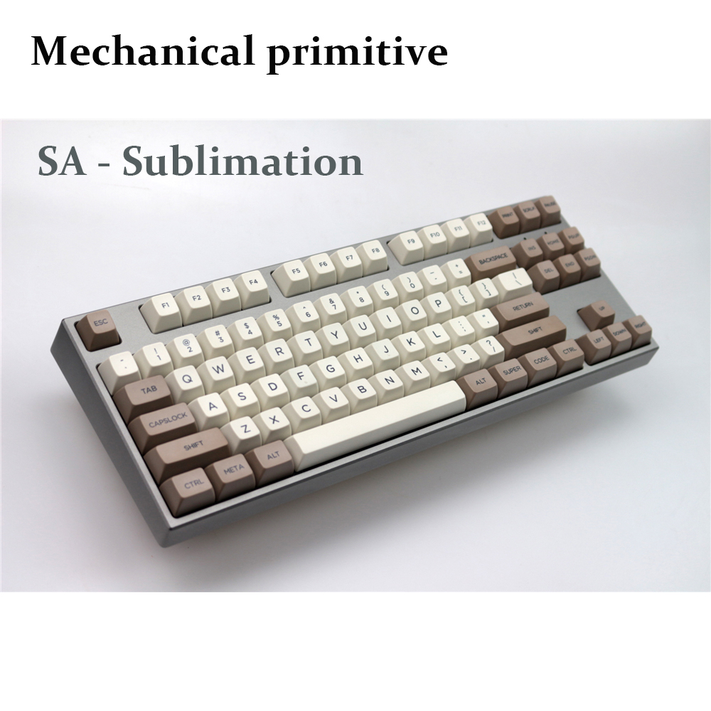 MP Retro Beige 134 KEYS SA PBT Keycap Sublimation Keycap Cherry MX switch keycaps for Wired USB Mechanical Gaming keyboard mp 104 87 keys red gradient cherry mx switch pbt keycaps radium valture side printed keycap for mechanical gaming keyboard