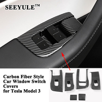 SEEYULE Carbon Fiber Style Car Window Control Switch Panel Cover Styling Trim Decoration Sticker Accessories for Tesla Model 3