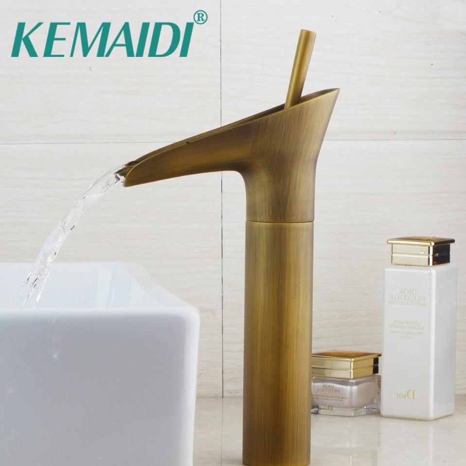 KEMAIDI Good Quality Antique Brass bathroom Faucets  Basin Faucets Tall High Bathroom Basin Sink Mixer Tap Deck MountedKEMAIDI Good Quality Antique Brass bathroom Faucets  Basin Faucets Tall High Bathroom Basin Sink Mixer Tap Deck Mounted
