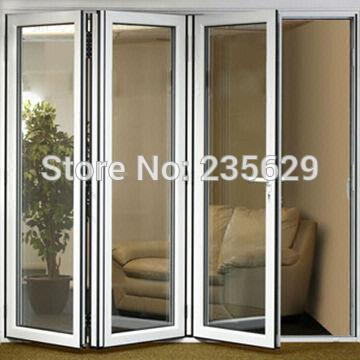 Aluminium Bi-folding Exterior Doors, Aluminum Folding Door Systems, Exterior Aluminium Folding Doors With Double Glazing