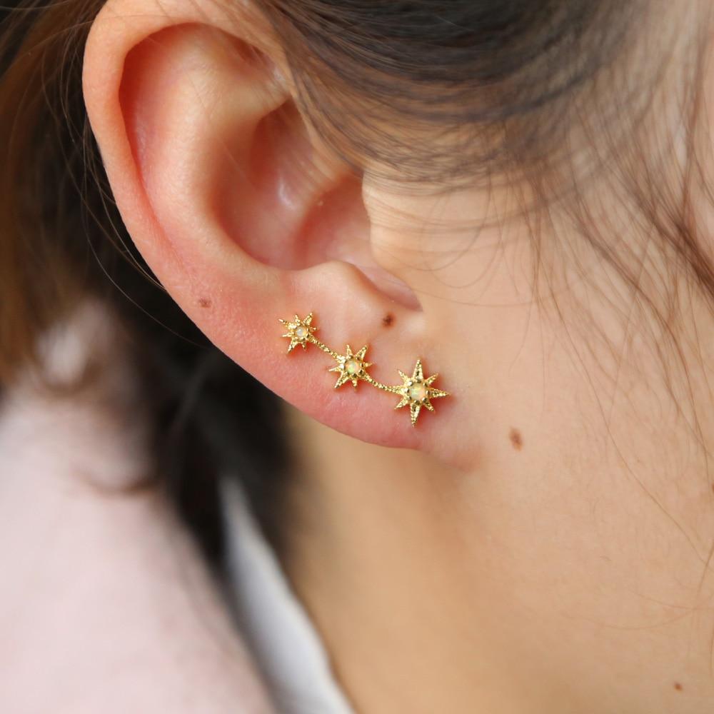 cute jewelry delicate girl women ear stud tiny cz flower delicate 925 sterling silver opal cz stud minimalist flower earring