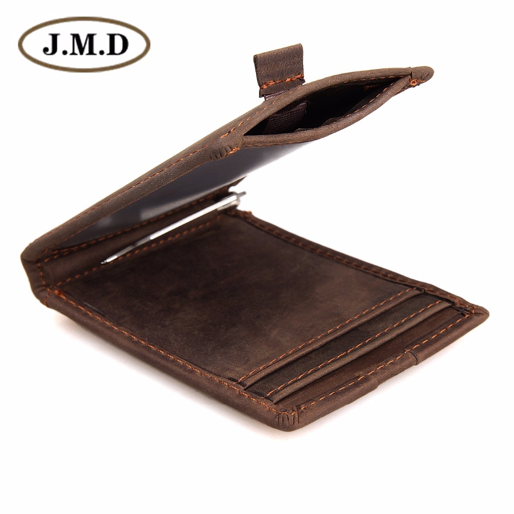 J.M.D J.M.D Designer Crazy Horse Leather Slim ID Card Holder Men's Daily Wallet R-8143R crazy horse leather billfolds wallet card holder leather card case for men 8056r 1