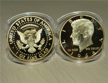 America The 35th president Kennedy 1964 Liberty Gold Plated Coin, 1 oz 24K Commemorative coins, free shipping 15pcs/lot
