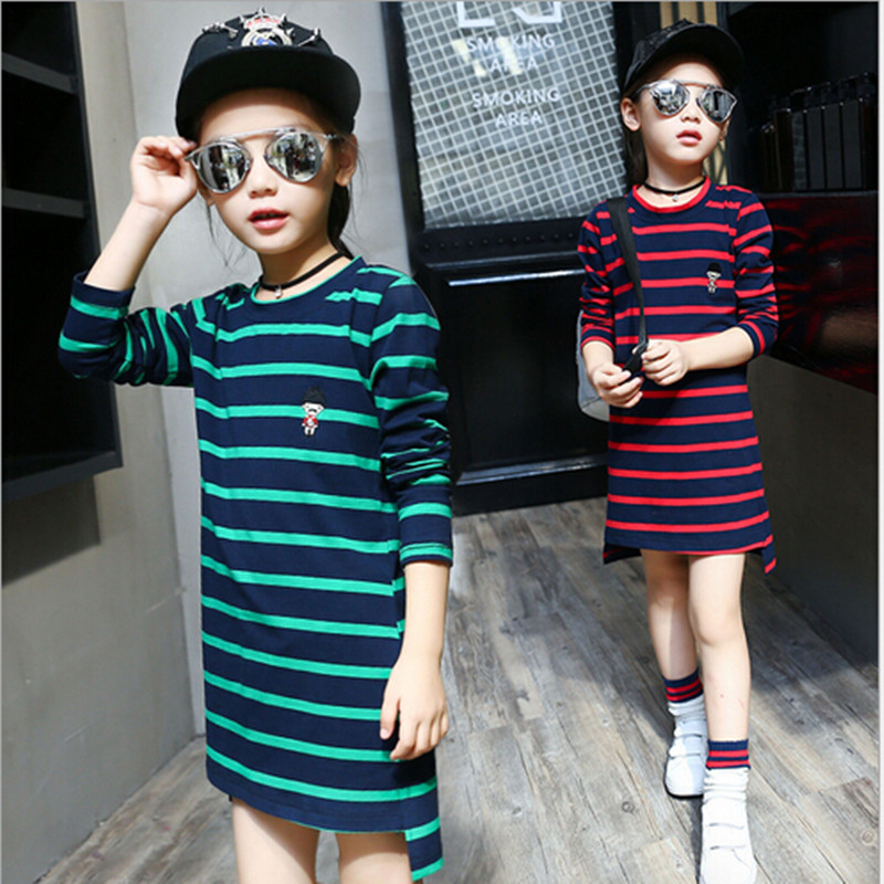 2016 Brand New Girls Autumn Spring Print Striped T-shirt Kid Long Sleeve School Clothes Girls Cute Top Hot Sale