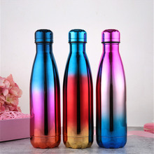 Beauty Gradient Water Bottle BPA Free Thermos Vacuum Flask Insulated Drink Milk Fruit Beer Cup