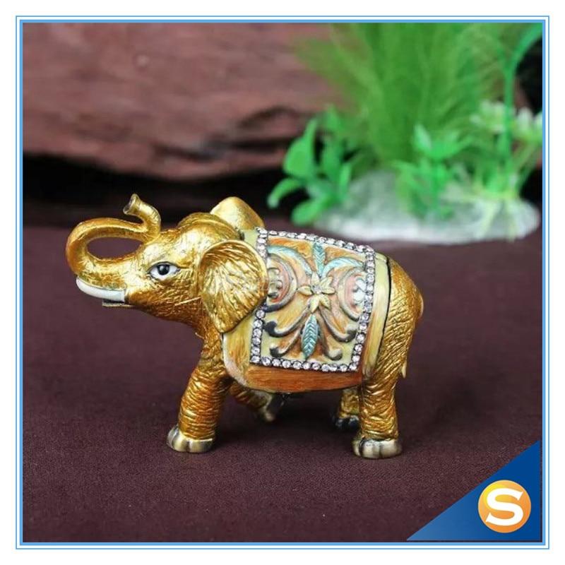 Home Decorative Box Small Antiqued Flowered Elephant Handmade Jeweled Enameled Metal Trinket Box