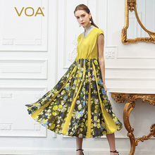 VOA Heavy Silk Georgette Yellow Floral Print Pleated Dress Women Plus Size 5XL Beach Boho Casual Summer Slim Korean Long A333