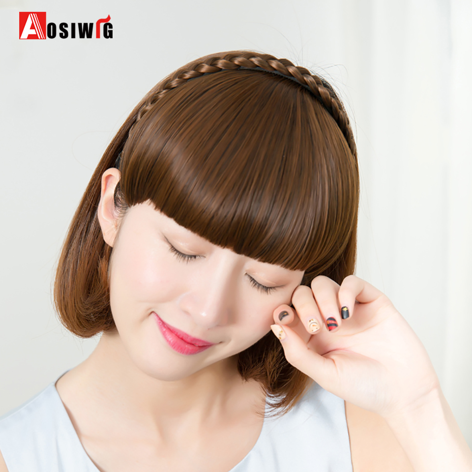 AOSIWIG Natural Synthetic Straight Blunt Bangs with Braided Hairband High Temperature Fiber Two styles Hair Extensions