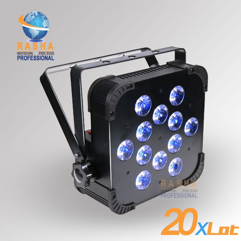 20X LOT Quad 12*10W 4in1 RGBW/RGBA Non Wireless LED Flat Par Light LED Slim Par Can Stage Projector For Event DMX Stage Light 8x lot hot rasha quad 7 10w rgba rgbw 4in1 dmx512 led flat par light non wireless led par can for stage dj club party page 7