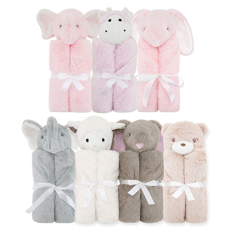 2 Layer Baby Blanket 76x76cm Baby Bedding Winter Birthday Gift Newborn Soft Warm Coral Fleece Plush Animal Educational Plush Toy