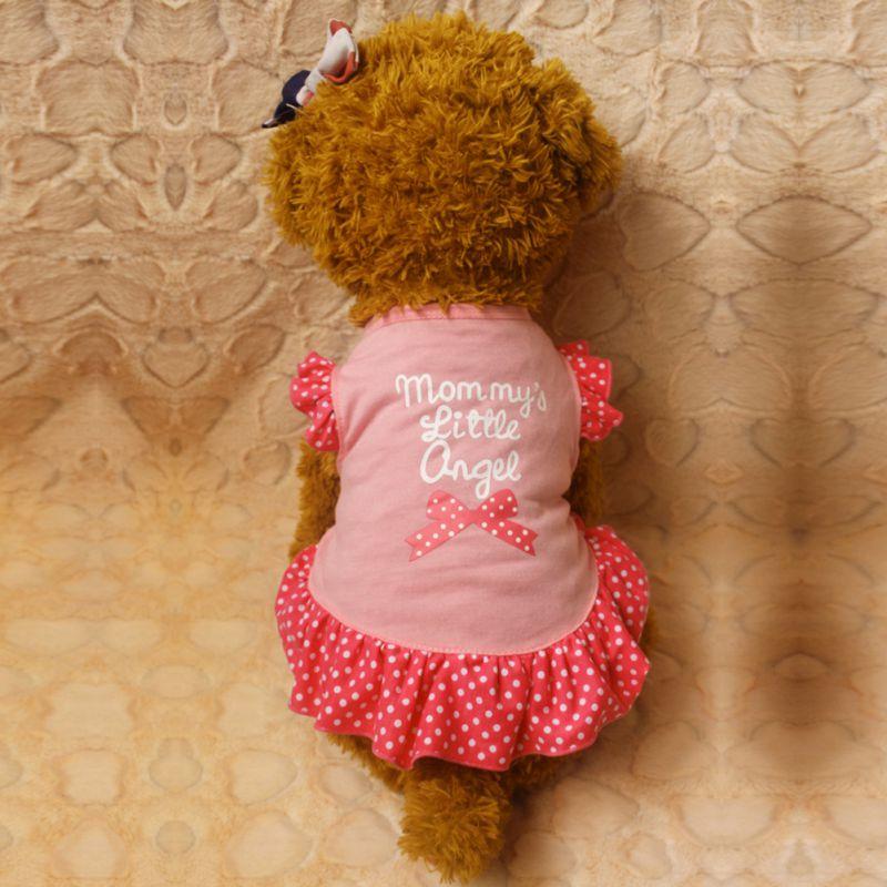 Новые поступление лук узор маленький Летающий рукавом собака платье принять и любят ультракороткие рукава Платья для женщин четыре Размер...
