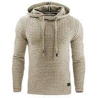 FJUN Casual Hoodie Men Plaid Solid Hooded Collar Winter Sweatshirt Hoodies Male Clothes Cotton S M