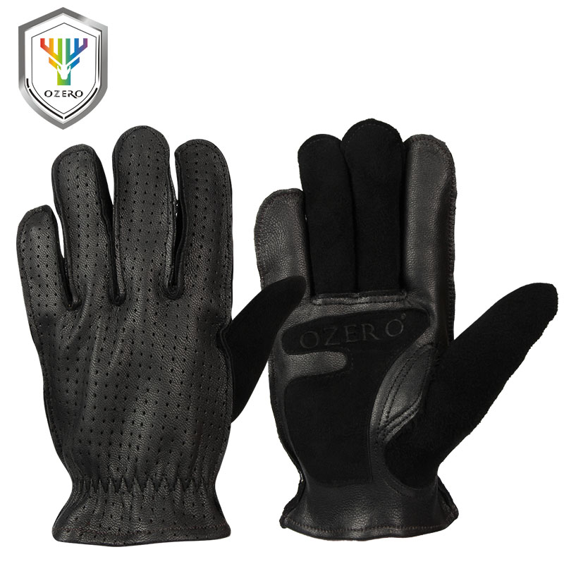 OZERO Men's Work Gloves Leather Genuine Goatskin Driver Security Protection Wear Safety Workers Welding Hunting Gloves 5018 sale new cowhide men s work driver gloves security protection wear safety workers welding hunting gloves for men 0007