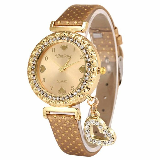 2018 new Love Heart Bracelet Watches Women Leather Crystal Quartz Wrist Watch Go