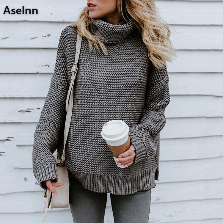 Aselnn 2018 зима для женщин свитер с высоким воротом одноцветное одежда длинным рукавом толстый вязаный Пуловеры для Женский Уличная