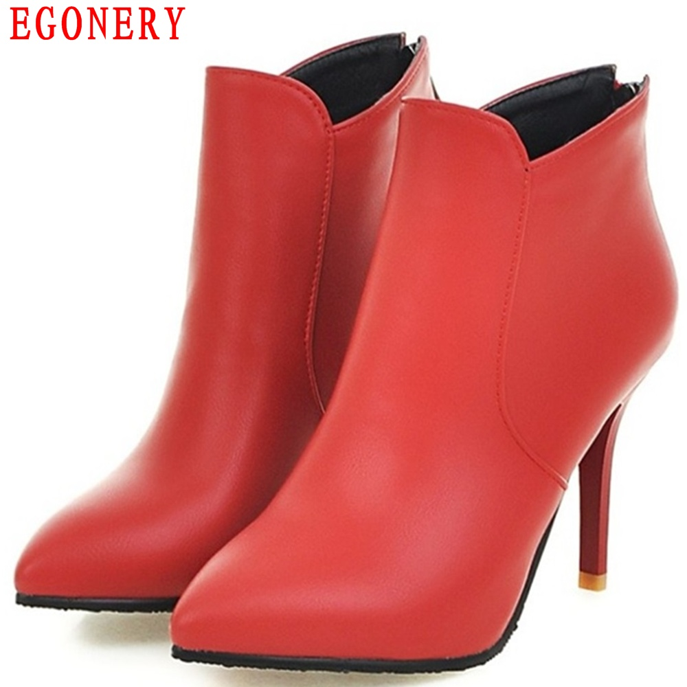 EGONERY New Concise Zipper Thin High Heel Pointed Toe Faux Leather Spring Autumn Ankle Womens Boots Shoes Woman egonery quality pointed toe ankle thick high heels womens boots spring autumn suede nubuck zipper ladies shoes plus size