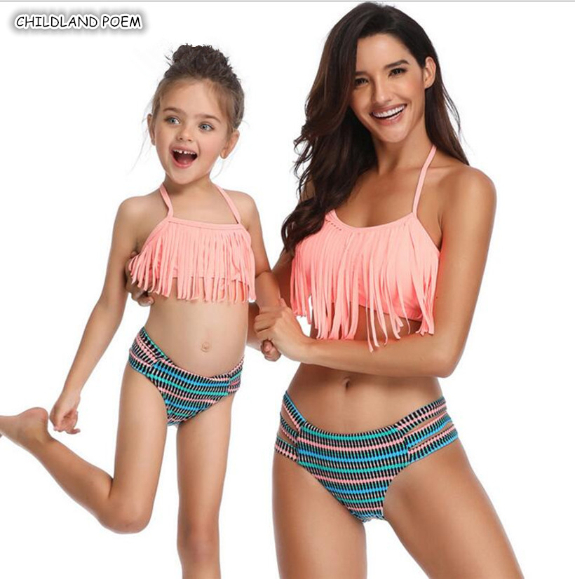 Mother And Daughter Swimsuit 2019 Family Look Mommy And Me Clothes Bikini Tassel Mom Daughter Swimwear Family Matching Clothes