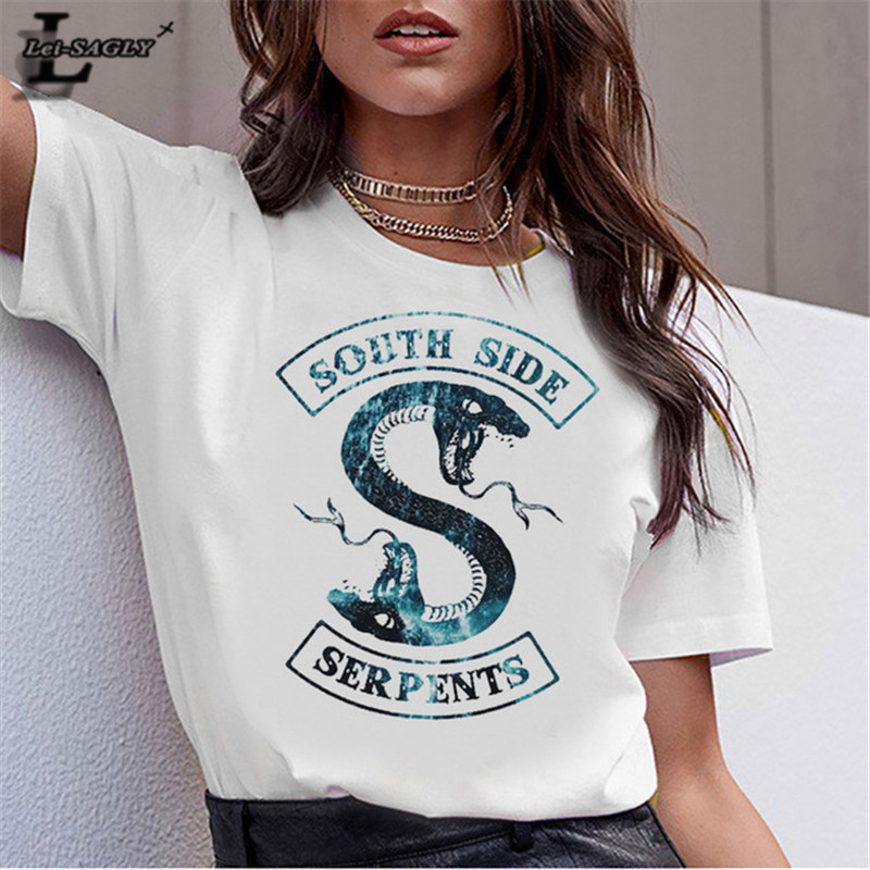 Lei SAGLY South Side Serpents Women Summer Short Sleeve T Shirt Female White Casual Snake Print Riverdale Tshirts Streetwear Tee