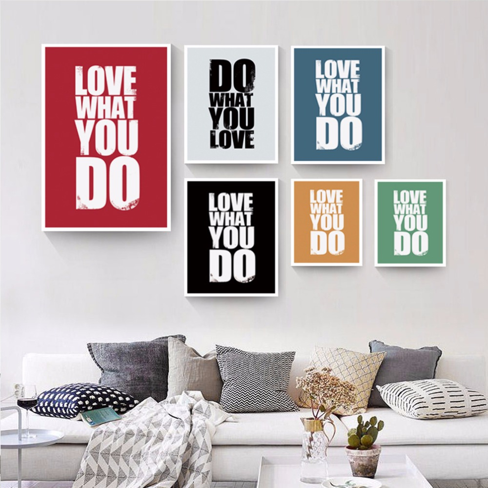 Love what you do english inspirational phrases canvas - Photo decoration on wall ...