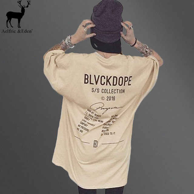 Aelfric Eden Kanye West Casual T Shirt Men Khaki Letter Printed Top Mens Tshirts Hip Hop Streetwear Tshirt Homme Tees
