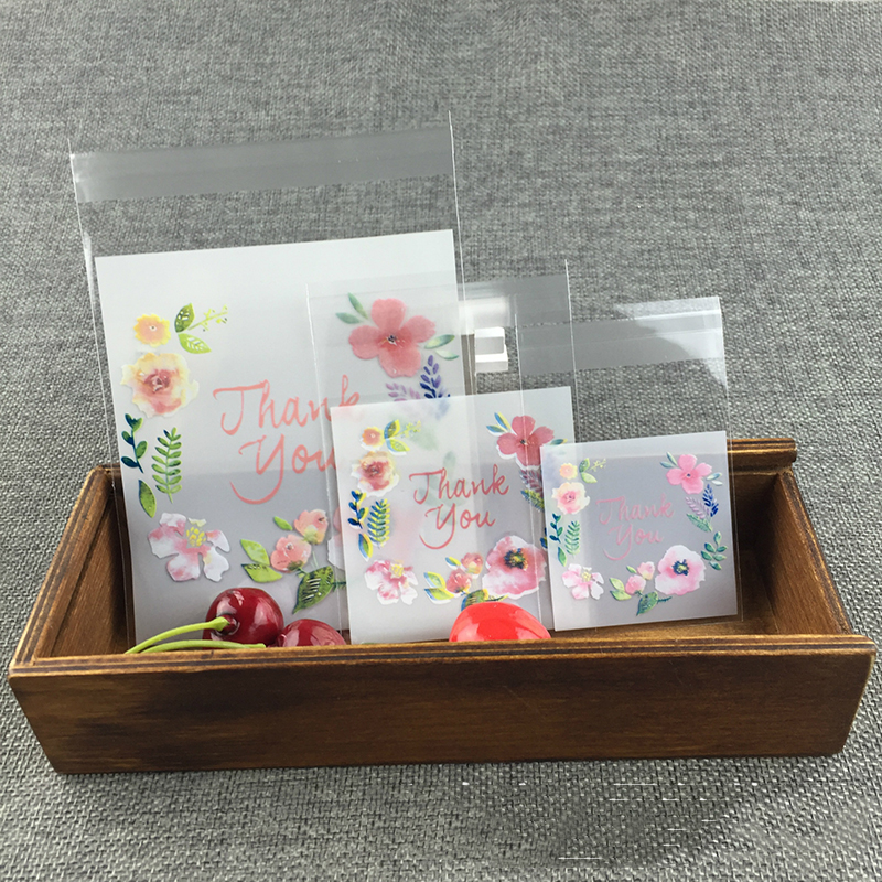 50/100 Pcs/lot Thank You Transparent Plastic Baking Candy Cookie Gift Bag Self-Adhesive For Wedding Birthday Party Packaging Bag